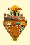 Montana - Old Town - Geometric - Contour - Lantern Press Artwork