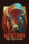 Montana - Big Sky Country - Vivid Bison - Contour - Lantern Press Artwork