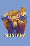 Montana - Vivid Moose - Contour - Lantern Press Artwork
