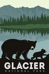 Glacier National Park, Montana - Bear & Cub - Family Time - Lantern Press Artwork