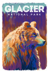 Glacier National Park, Montana - Vivid Grizzly Bear - Lantern Press Artwork