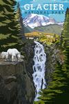 Glacier National Park, Montana - Mountain Goats & Waterfall - Lantern Press Artwork