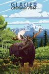 Glacier National Park, Montana - Moose & Mountain Landscape - Lantern Press Artwork