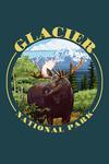 Glacier National Park, Montana - Moose & Mountain - Contour - Lantern Press Artwork