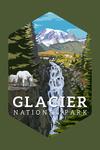 Glacier National Park, Montana - Mountain Goats & Waterfall - Contour - Lantern Press Artwork