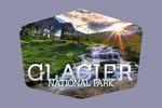 Glacier National Park, Montana - Waterfall - Contour - Lantern Press Artwork
