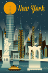 New York City - Retro Skyline Series - Lantern Press Artwork