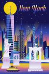New York City - Retro Skyline Chromatic Series - Lantern Press Artwork