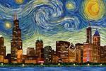 Chicago, Illinois - Starry Night City Series - Lantern Press Artwork