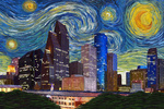 Houston, Texas - Starry Night City Series - Lantern Press Artwork