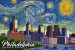 Philadelphia, Pennsylvania - Starry Night City Series - Lantern Press Artwork
