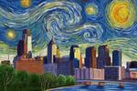 Philadelphia, Pennsylvania - Starry Night Series - Lantern Press Artwork