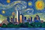 Dallas, Texas - Starry Night Series - Lantern Press Artwork