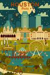 Houston, Texas - Geometric City Series - Lantern Press Artwork