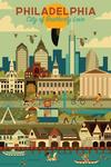 Philadelphia, Pennsylvania - City of Brotherly Love - Geometric City Series - Lantern Press Artwork