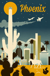Phoenix, Arizona - Retro Skyline Series - Lantern Press Artwork