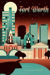 Fort Worth, Texas - Retro Skyline Chromatic Series - Lantern Press Artwork
