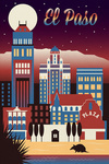 El Paso, Texas - Retro Skyline Chromatic Series - Lantern Press Artwork