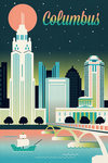 Columbus, Ohio - Retro Skyline Chromatic Series - Lantern Press Artwork
