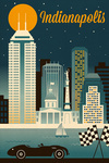 Indianapolis, Indiana - Retro Skyline Series - Lantern Press Artwork