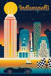 Indianapolis, Indiana - Retro Skyline Chromatic Series - Lantern Press Artwork