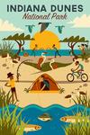 Indiana Dunes National Park, Indiana - Geometric National Park Series - Lantern Press Artwork