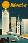 Milwaukee, Wisconsin - Retro Skyline Classic Series - Lantern Press Artwork