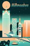 Milwaukee, Wisconsin - Retro Skyline Chromatic Series - Lantern Press Artwork