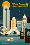 Cincinnati, Ohio - Retro Skyline Classic Series - Lantern Press Artwork