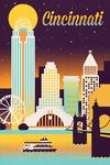 Cincinnati, Ohio - Retro Skyline Chromatic Series - Lantern Press Artwork