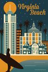 Virginia Beach, Virginia - Retro Skyline Classic Series - Lantern Press Artwork