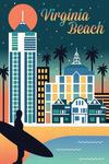 Virginia Beach, Virginia - Retro Skyline Chromatic Series - Lantern Press Artwork