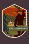 Forks, Washington - Home of Bigfoot - Contour - Lantern Press Artwork