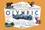 Olympic National Park, Washington - Mountain Range - Typography & Icons - Contour - Lantern Press Artwork