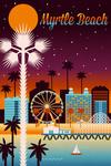 Myrtle Beach, South Carolina - Retro Skyline Chromatic Series - Lantern Press Artwork