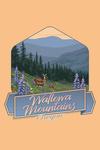 Wallowa Mountains, Oregon - Deer & Spring Flowers - Contour - Lantern Press Artwork