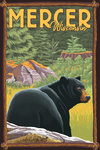 Mercer, Wisconsin - Black Bear - Lantern Press Artwork