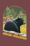 Mercer, Wisconsin - Black Bear - Contour - Lantern Press Artwork