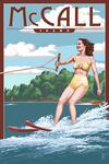 McCall, Idaho - Water Skier & Lake - Lantern Press Artwork
