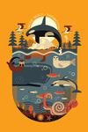 Pacific Beach, Washington - Marine Animals - Geometric - Contour - Lantern Press Artwork