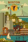 Boston, Massachusetts - Geometric City Series - Lantern Press Artwork