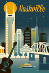 Nashville, Tennessee - Retro Skyline Classic Series -  Lantern Press Artwork