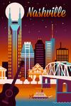 Nashville, Tennessee - Retro Skyline Chromatic Series -  Lantern Press Artwork