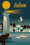 Salem, Massachusetts - Retro Skyline Classic Series - Lantern Press Artwork