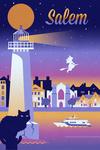 Salem, Massachusetts - Retro Skyline Chromatic Series - Lantern Press Artwork