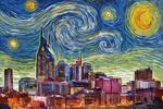 Nashville, Tennessee - Starry Night Series - Lantern Press Artwork