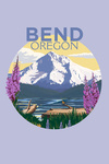 Bend, Oregon - Mountain & Lake Scene - Contour - Lantern Press Artwork