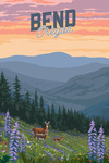Bend, Oregon - Deer & Spring Flowers - Lantern Press Artwork