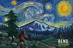 Bend, Oregon - Bigfoot - Starry Night - Lantern Press Artwork