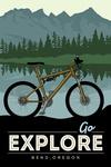 Bend, Oregon - Go Explore - Bike - Lantern Press Artwork